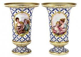 Pair Of French Porcelain Beaker Vases
