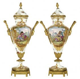 Pair Of Sevres Ormolu Mounted Porcelain Covered Urns