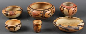 (lot Of 6) Hopi Pottery Vessels