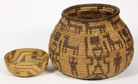 (lot Of 2) Fine Native American Basketry Group
