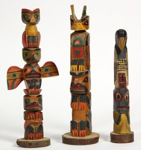 (lot Of 3) Northwest Coast Totem Poles