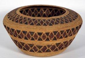 Native American Mono Polychrome Decorated Basket