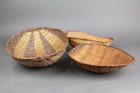 (lot Of 3) Native American Basketry Scoops Or Sifters