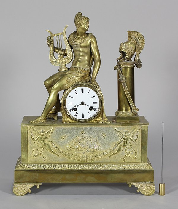 French Louis XVI style gilt bronze figural mantle clock
