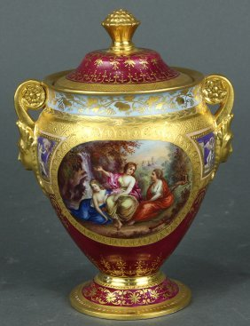 Royal Vienna Porcelain Lidded Urn