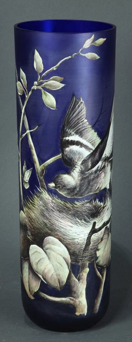 Moser Style Hand Painted Glass Vase