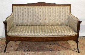 Edwardian Partial Painted Satinwood Settee