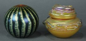(lot Of 2) Lundberg Studios Art Glass Group