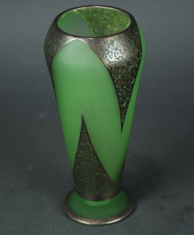 Continental Emerald And Silvered Vase