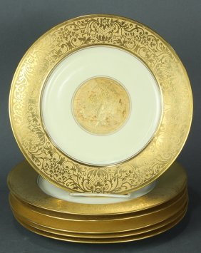 (lot Of 6) Bavarian Partial Gilt Service Plates