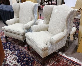 Pair Of Custom Upholstered Wingback Armchairs
