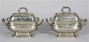Pair of English Georgian sterling silver covered