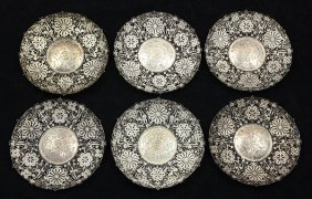 Chinese Export Silver Filigree Plates By Wen Yin