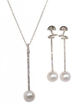 South Sea Cultured Pearl, Diamond And 14k White Gold
