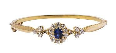 Victorian sapphire diamond and 14k yellow gold bangle