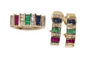 Ruby, Emerald, Sapphire, Diamond And 14k Yellow Gold