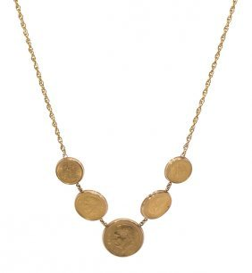 Mexican Gold Coin, 14k Yellow Gold Necklace
