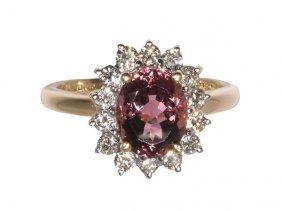 Pink Tourmaline, Diamond And 14k Yellow Gold Ring