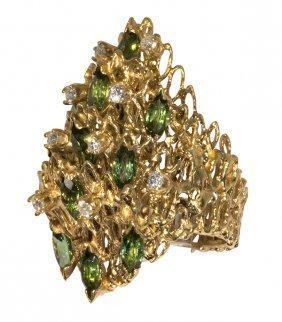 Tourmaline, Diamond And 18k Yellow Gold Ring