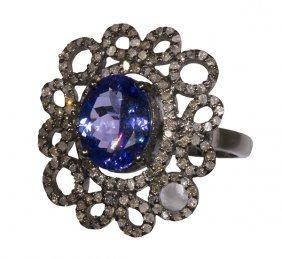 Tanzanite, Diamond And Sterling Silver Ring