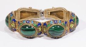 Chinese Malachite, Enamel And Silver Gilt Bracelet