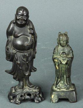 Two Chinese Bronze Deities