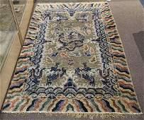 Antique Chinese silk carpet circa 1900 depicting five