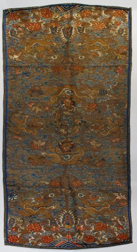 Chinese Gilt Couched Panel, Dragons