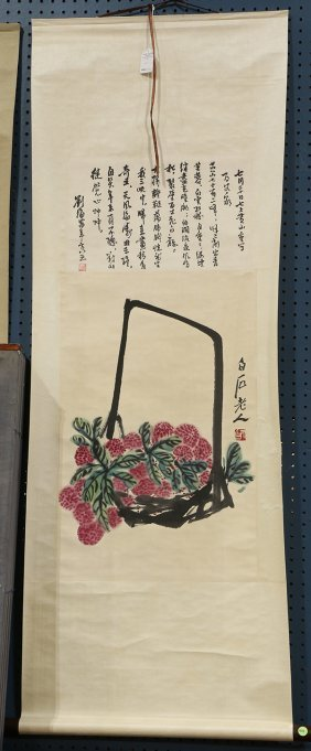 Chinese Scroll, Manner Of Qi Baishi, Lychee