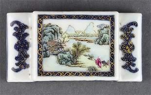 Chinese Porcelain Brush Rest, Landscape