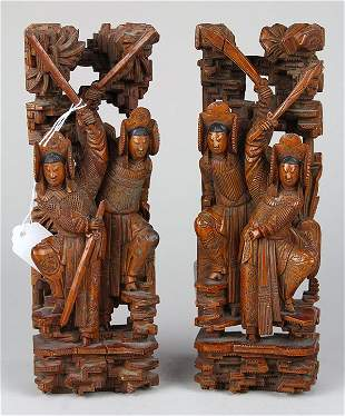 Two Chinese Figural Wood Carvings
