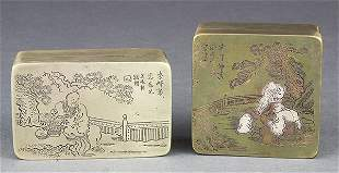 Two Chinese Metal Ink Boxes