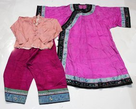 Chinese Pink Robes And Trousers