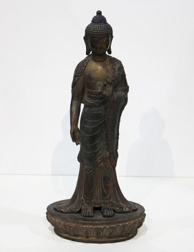 Chinese Copper Alloy Standing Buddha