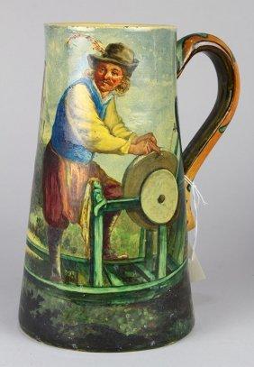 English Earthenware Jug, Circa 1900, The Hand Thrown