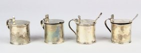 English Sterling Silver Mustard Pots Each With A Glass
