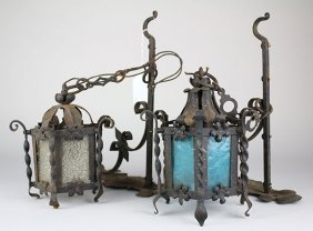 Pair Of Spanish Revival Wrought Iron Exterior Light