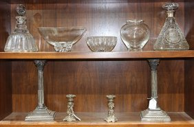 (lot Of 9) Crystal And Silverplate Table Articles,