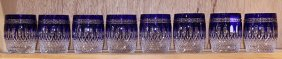 (lot Of 8) Bohemian Style Cobalt Cut To Clear Crystal