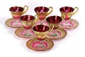 (lot Of 6) Venetian Murano Glass Teacups