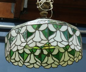 American Arts And Crafts Hanging Leaded Glass Shade,
