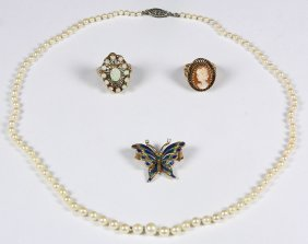 (lot Of 4) Multi-gem, Enamel, Diamond And Yellow Gold