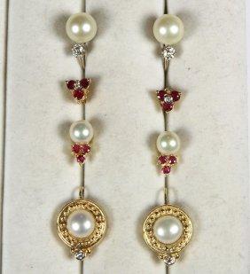 (lot Of 4) Multi-stone, Cultured Pearl, Diamond And