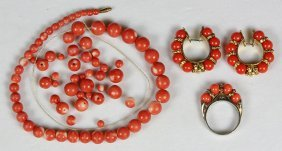 Collection Of Coral Bead, Glass Bead And Metal Jewelry