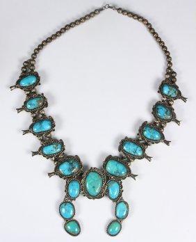 Native American Turquoise, Silver Squash Blossom