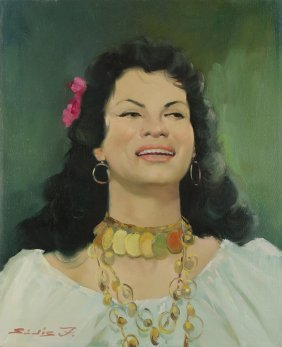 Painting, Portrait Of A Smiling Woman