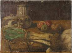 Painting Still Life with Apples and Green Onions