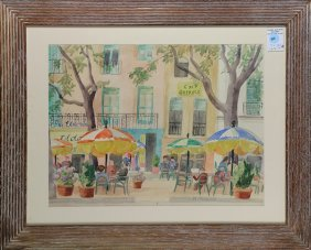 Figures At An Outdoor Cafe, Watercolor