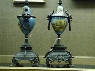 Pair porcelain urns circa 1900