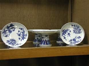 Six pedestal plates